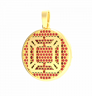 Кольцо CIRCLE LOGO AN GOLD (red fianits)